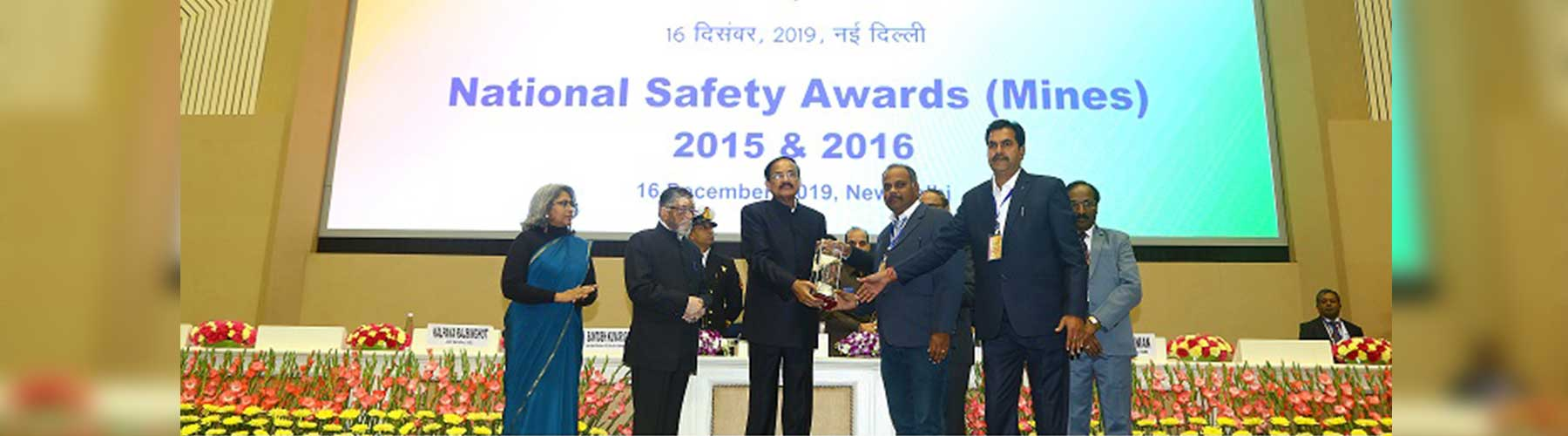 Hon'able Vice President of India , giving National Safety Awards (Mines) for 2015 & 2016 on 16th Dec, 2019 at  at Vigwayan Bhawan , New Delhi
